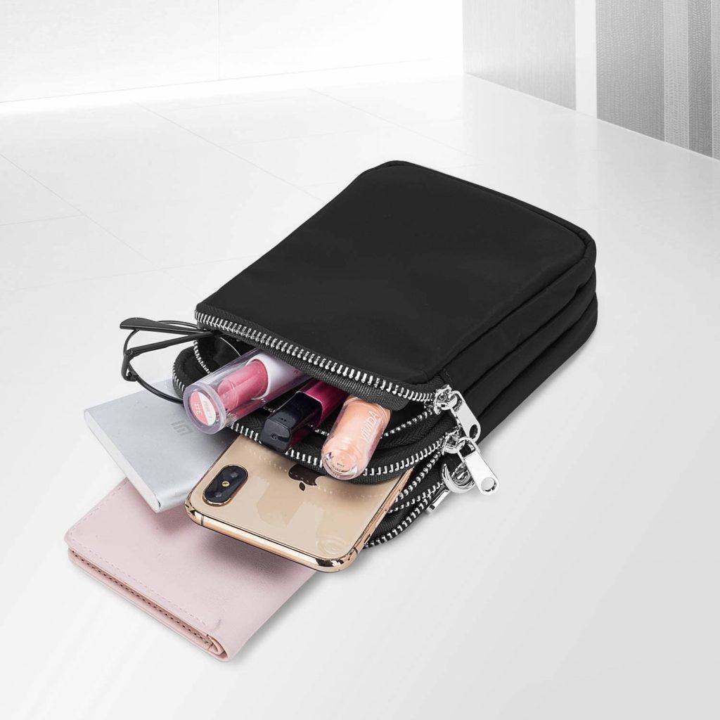 bolsos bandolera mujer, bandoleras mujer originales, bolso negro bandolera, con varios compartimentos, organización, tamaño cómodo y compacto,